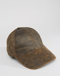 Asos Baseball Cap In Distressed Faux Leather Finish Brown