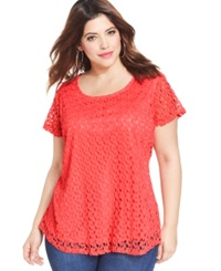 Ing Plus Size Short Sleeve Crochet Top Coral