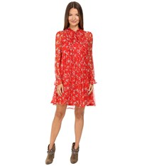The Kooples Dotted Line Flowers On Silk Crepon Dress Red