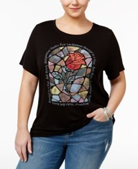 Beauty And The Beast Trendy Plus Size Cotton Stained Glass Graphic T Shirt Black