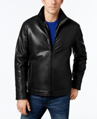 Calvin Klein Men's Faux Leather Faux Fur Lined Jacket Black