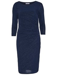 Gina Bacconi 3D Metallic Stripe Knitted Dress Dark Blue