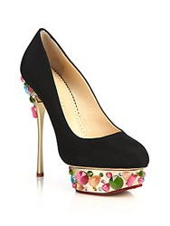 Charlotte Olympia Dolly On The Rocks Silk Platform Pumps Black