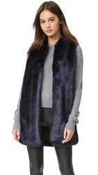 Amanda Uprichard Faux Fur Vest Midnight
