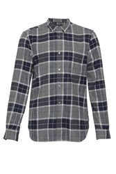 French Connection Men's Large Check Flannel Shirt Grey