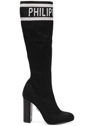 Philipp Plein Logo Knee Length Boots Black