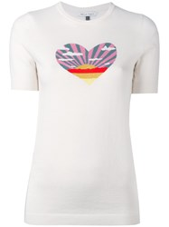 Bella Freud Sunset Heart Knit T Shirt Women Cotton Cashmere S Nude Neutrals