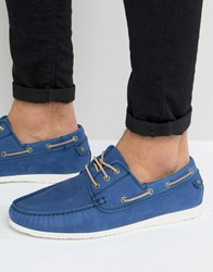 Dune Belize Suede Boat Shoe Blue