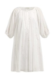 Mes Demoiselles Begonia Floral Embroidered Cotton Dress Ivory