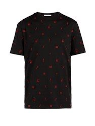 Givenchy Cuban Fit Contrast Embroidered T Shirt Black