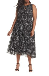 Tahari Plus Size Polka Dot Keyhole Chiffon Dress Black Ivory