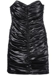 Saint Laurent Ruched Strapless Mini Dress Black
