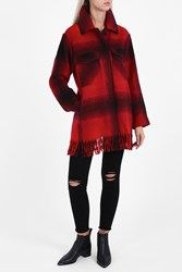 Alexander Wang Oversized Fringed Coat Red