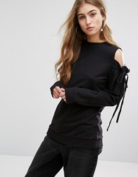 Daisy Street Cold Shoulder Top With Tie Sleeve Details Black