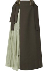 Rejina Pyo Evie Paneled Wool Blend Twill And Pleated Satin Skirt Army Green