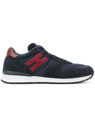 Hogan Contrast Logo Sneakers Suede Polyamide Polyimide Rubber 5.5 Blue