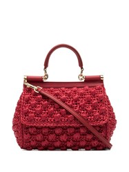 Dolce And Gabbana Red Corredo Raffia Shoulder Bag