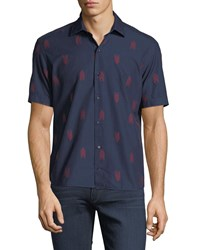 Culturata Chevron Embroidered Short Sleeve Shirt Navy
