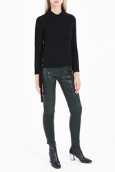Frame Denim Side Tie Cropped Jumper Black