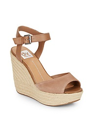 Dolce Vita Nadiyah Suede Leather And Jute Platform Wedge Sandals Taupe