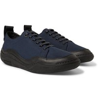 Lanvin Leather Trimmed Mesh Sneakers Midnight Blue