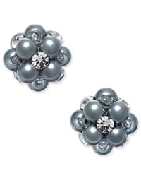 Charter Club Silver Tone Imitation Pearl And Crystal Cluster Stud Earrings Only At Macy's Grey