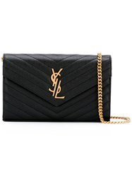 Saint Laurent Chevron Monogram Chain Wallet Women Leather Metal Other One Size Black