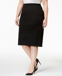 Alfani Plus Size Textured Pencil Skirt Only At Macy's Black Gingham