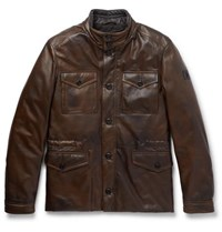 Tod's Leather Field Jacket Brown