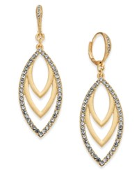 Inc International Concepts I.N.C. Gold Tone Pave Navette Drop Earrings Created For Macy's
