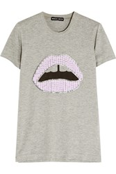 Markus Lupfer Lara Lip Sequined Cotton Blend Jersey T Shirt
