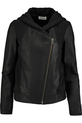 Helmut Lang Cotton Jersey Paneled Textured Leather Jacket