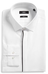 Hugo Men's Big And Tall Boss Jamis Slim Fit Solid Dress Shirt White