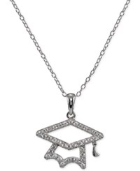 Giani Bernini Cubic Zirconia Pave Graduation Pendant Necklace In Sterling Silver Only At Macy's