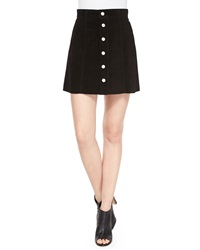 Alexa Chung For Ag The Gove Pleated Suede Skirt Super Black