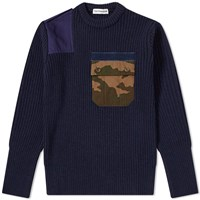 Gosha Rubchinskiy Ribbed Camo Pocket Crew Sweat Blue