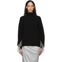 Christopher Kane Black Wool And Silk Multi Chain Turtleneck