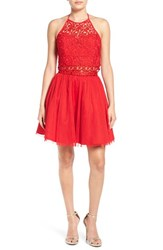 Steppin Out Women's Halter Sequin Two Piece Skater Dress