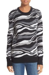 Equipment 'Ondine' Print Zip Shoulder Wool Sweater Black