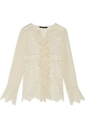 W118 By Walter Baker Ruby Paneled Crochet Knit And Georgette Top Ivory