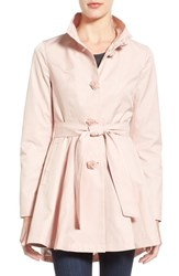 Women's Betsey Johnson Belted High Low Trench With Flower Buttons