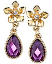 2028 Gold Tone Flower Purple Stone Drop Earrings