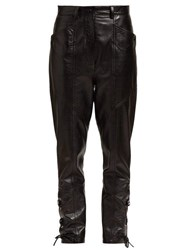 Isabel Marant Cadix Lace Up Leather Trousers Black