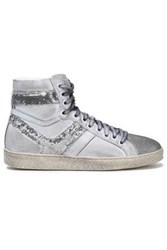 Iro Sequin Embellished Metallic Brushed Leather High Top Sneakers Light Gray