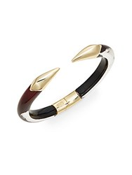 Alexis Bittar Lucite Mirrored Talon Cuff Bracelet Goldtone Black Cherry