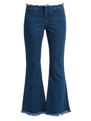 Marques Almeida Capri Frayed Edge Flared Cropped Jeans Denim