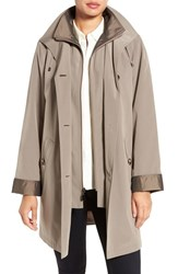 Gallery Women's Two Tone Long Silk Look Raincoat Desert Sand