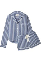 Rails Striped Poplin Pajama Set Blue