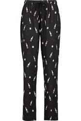 Markus Lupfer Power Room Printed Silk Crepe Track Pants Multi