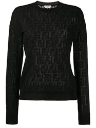 Fendi Jacquard Knit Ff Logo Sweater Black
